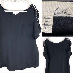 Lush black short sleeve blouse.